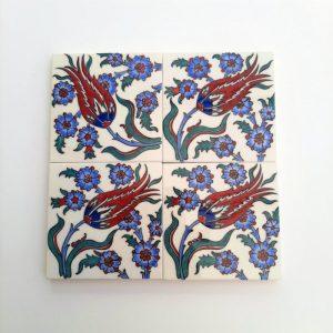 Set of 4 handmade Turkish ceramic coasters with traditional Iznik floral design