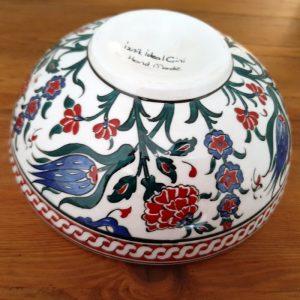 Handmade Turkish ceramic bowl - traditional Iznik floral design with chain lace motif